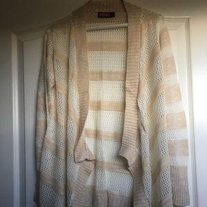 Sweaters - Cute draped front cardigan sweater in tan & white